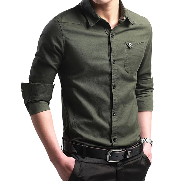Off Road Military Fashion Handsome Style Slim Fit Cotton Long-sl