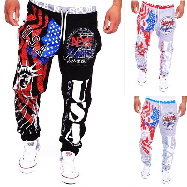 Men's Lace-Up Fashion Sports Jogger Pants Statue of Liberty Amer