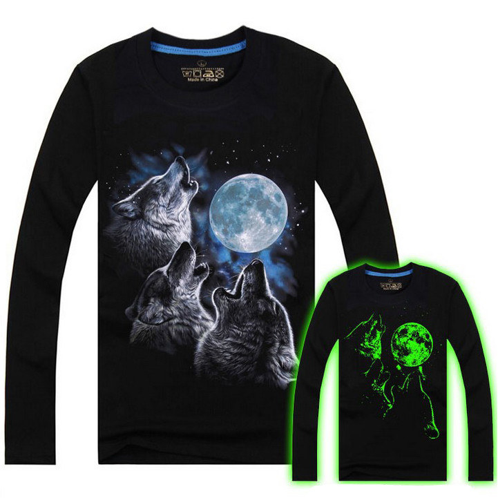 Men Cotton Blended 3D Printed Noctilucent Wolf Long Sleeve T-shi