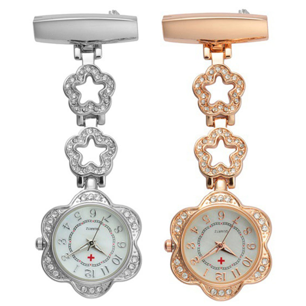 Crystal Flower Dial Doctor Nurse Watch Clip-on Stainless Steel P