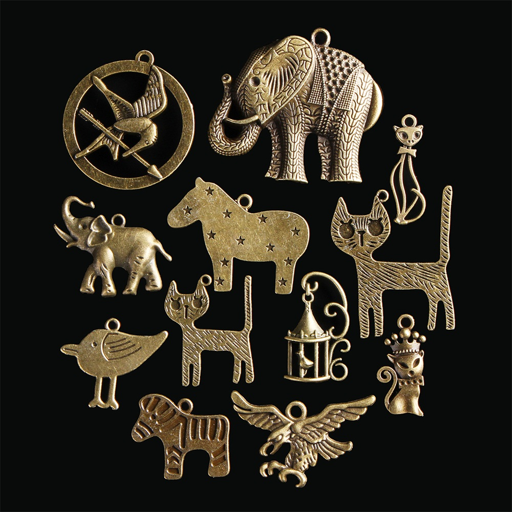 12Pcs Chinese Zodiac Vintage DIY Antique Bronze Pendant Decor Mu