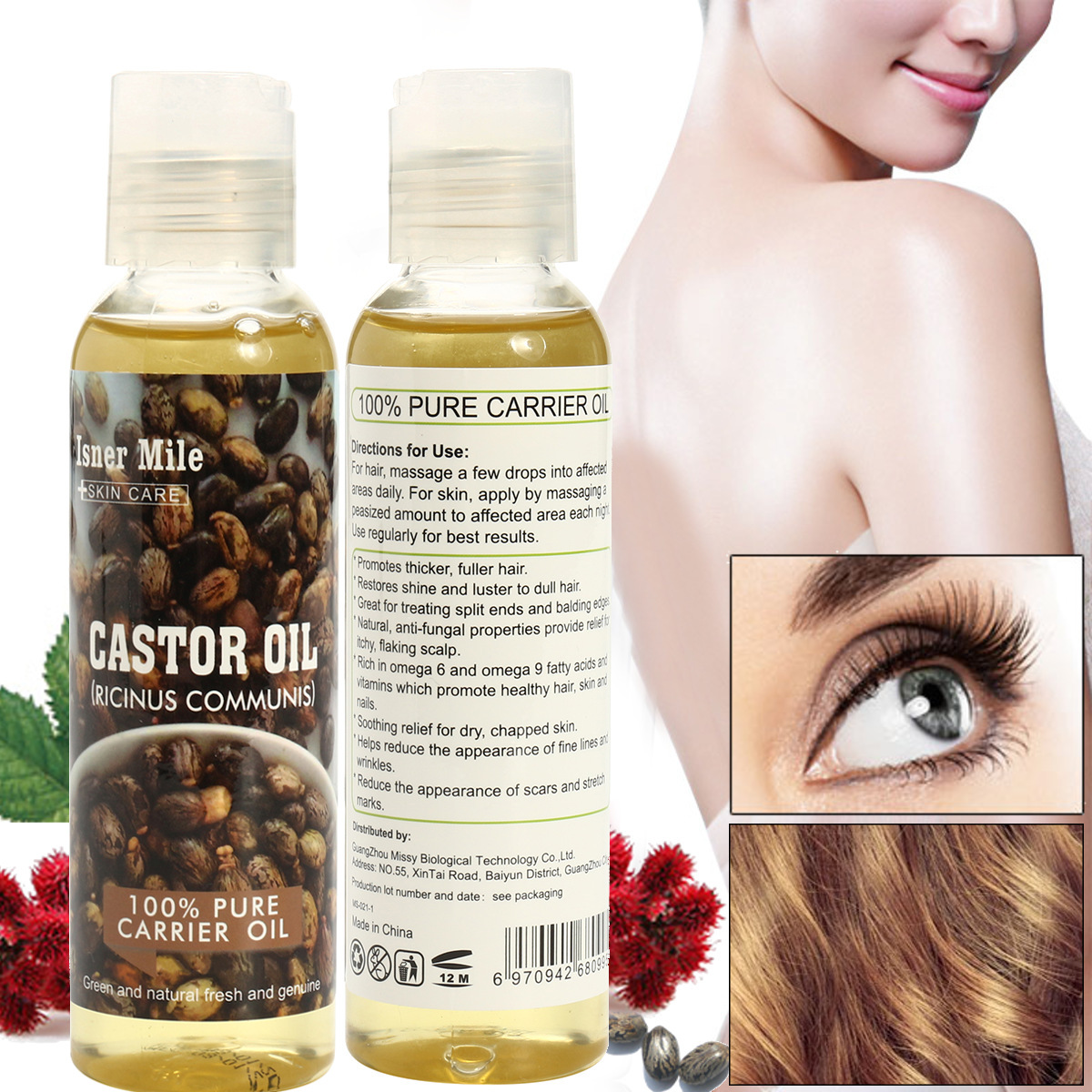 100% Pure Castor Oil Cold Pressed Moisturiser Hydrating Skin & H