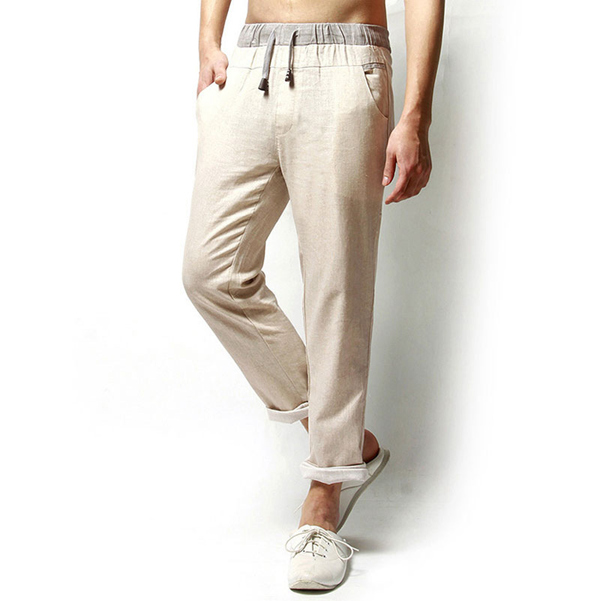 Linen Solid Color Casual Loose Men Long Trousers Flax Leisure Pa
