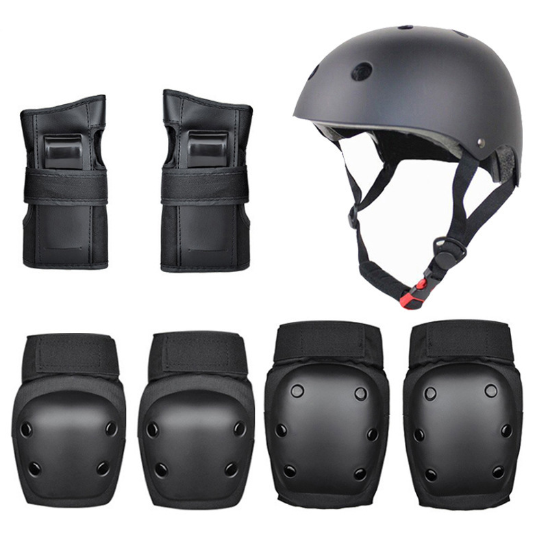 7PCS Helmet+Hand Support+Knee Support+Elbow Support Set Outdoor