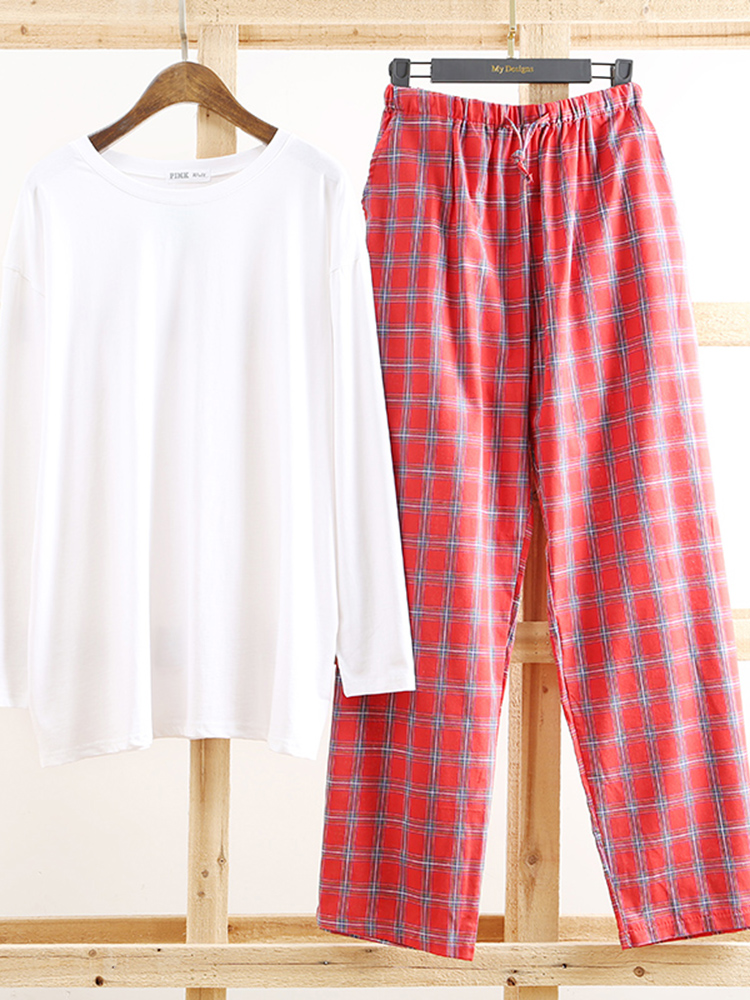 Autumn Long Sleeve Cotton Plain Color Top Plaid Pajama Set