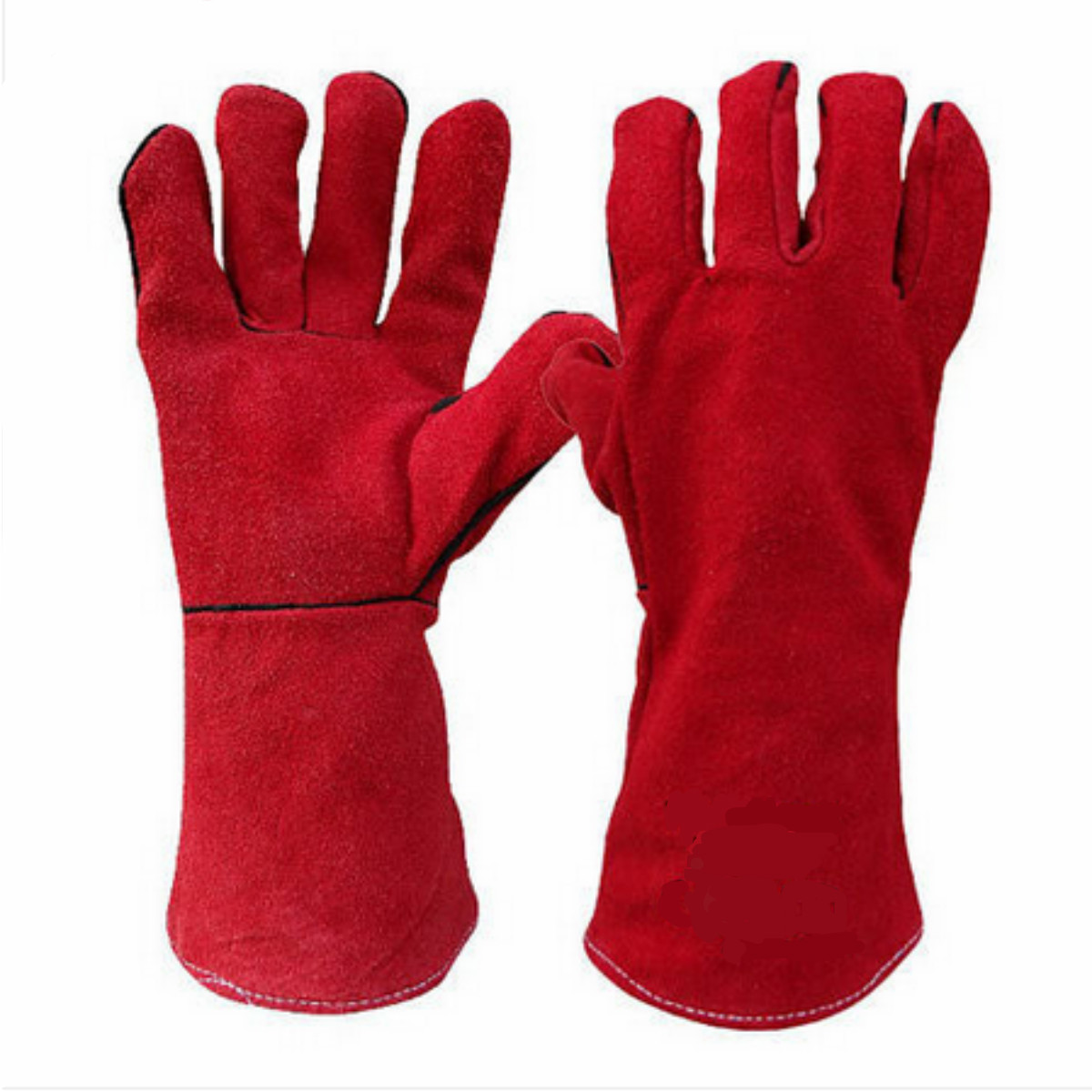 1 Pair PU Leather Gloves Welders Woodburner Stove Log Fire Oven