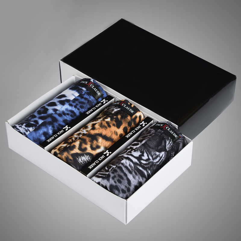 3 Pieces Leopard Smooth Mens Ice Silk Underwear Boxer Briefs Wit