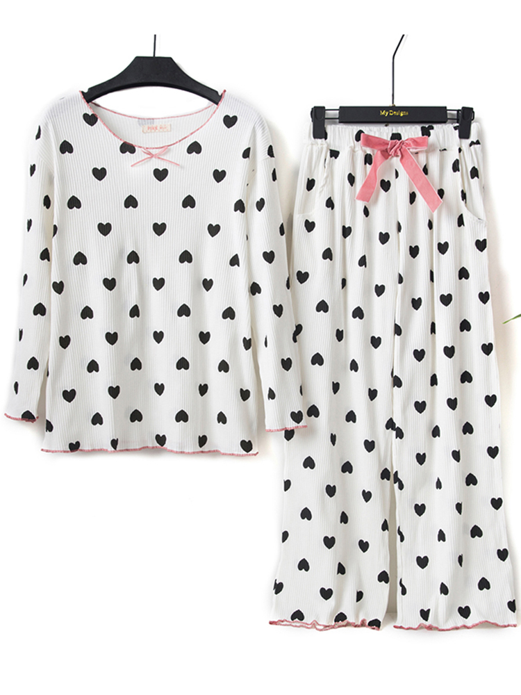 Autumn Cotton Heart Printed Casual Loose Pajama Set