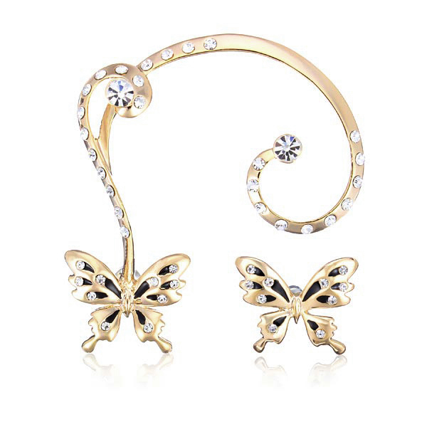 18K Gold Plated Rhinestone Butterfly Ear Clip Stud Earrings Jewe